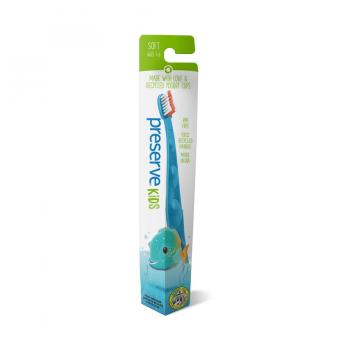 Detská recyklovateľná soft zubná kefka – modrá