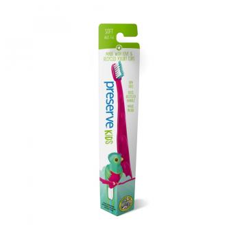 Detská recyklovateľná soft zubná kefka - ružová, umývanie zúbkov, detské zúbky, ústna hygiena, čisté zúbky, detské ďasná, kefka so zvieratkom , preserve, organila