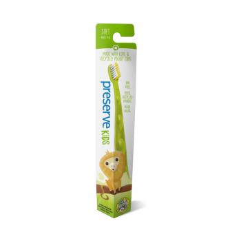 Detská recyklovateľná soft zubná kefka - zelená , umývanie zúbkov, detské zúbky, ústna hygiena, čisté zúbky, detské ďasná, kefka so zvieratkom , preserve, organila