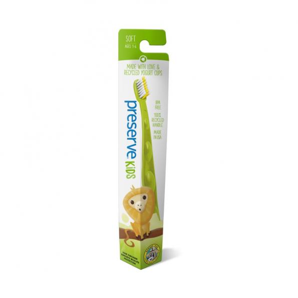 Detská recyklovateľná soft zubná kefka – zelená