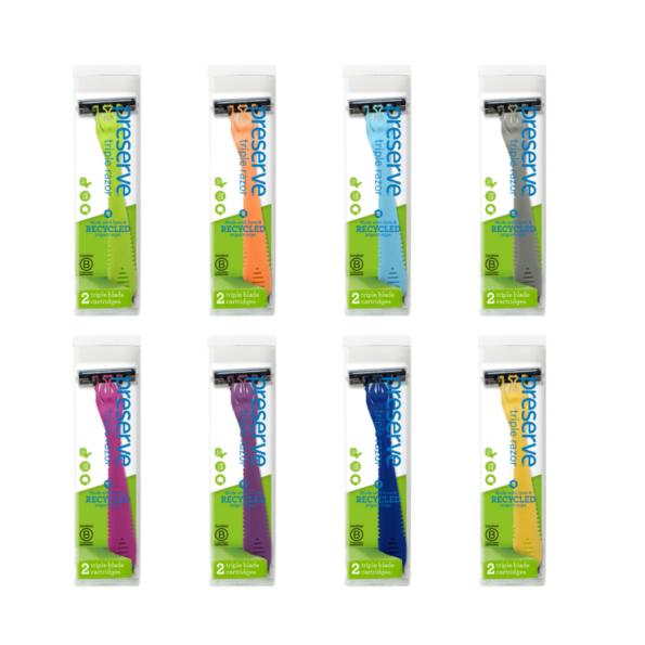 Recyklovateľný holiaci strojček Triple + 1 náhradná žiletka – tmavofialový