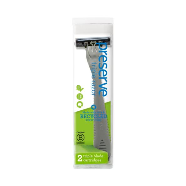 Recyklovateľný holiaci strojček Triple + 1 náhradná žiletka – antracitový