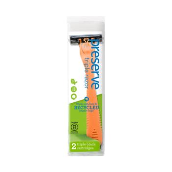 Recyklovateľný holiaci strojček Triple + 1 náhradná žiletka – oranžový
