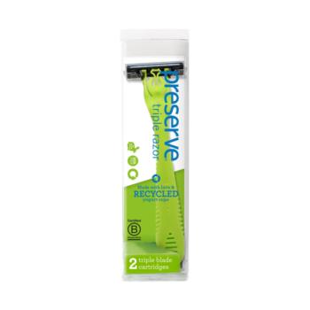 Recyklovateľný holiaci strojček Triple + 2 náhradné žiletky - zelený, holiaci strojček, komfortné holenie, zero waste holenie, recyklovateľný strojček, náhradné žiletky, preserve, organila