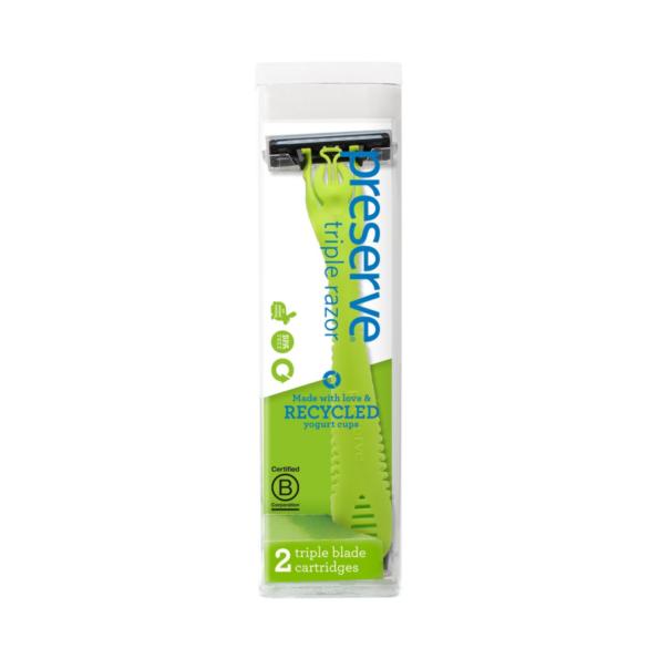 Recyklovateľný holiaci strojček Triple + 1 náhradná žiletka – zelený