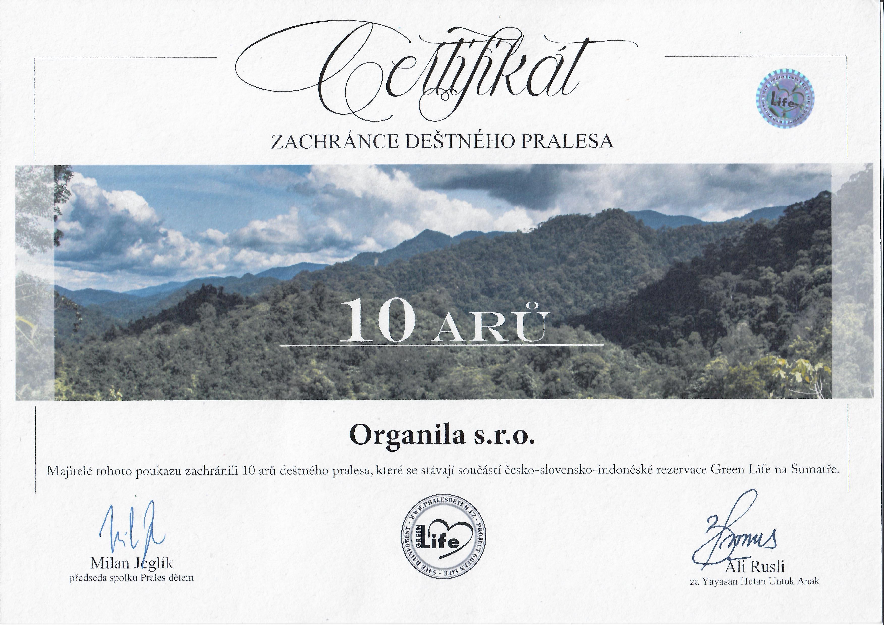 certifikat organila